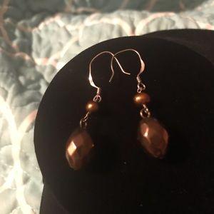 Copper Faceted Silver Tone Hooks Dangle Earrings